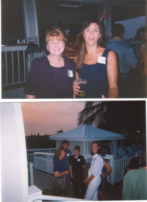 Fun at the Pool Bar.  Top: Paula Thomas  and Debra McCollum.  Bottom: Donna  Helton, Paula Thomas and Will Poyer and his
