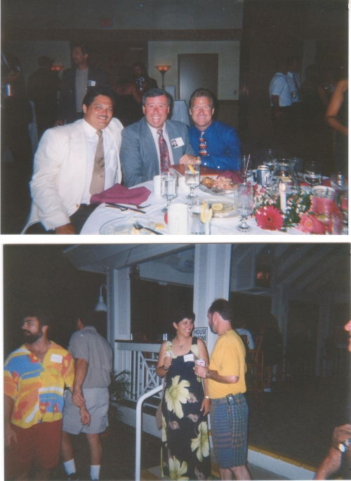 Top:  Chuck Morris, Ed Beck, and Tim Fell at the 20 year reunion dinner.  Bottom: Jeff McCann, Kathy Waters, and Alex Pe