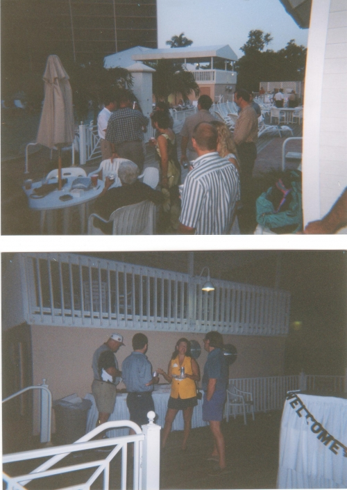 Top:  Fun at the Pool Bar.  Bottom:  JoGene Holaway at left and Ann Hoffman center, Will Poyer on the right.