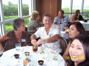 Front Table: Chuck Morris's wife Linda, Tim Fell, Tim's GF Monica, and Scott Griffith's wife. Back Table: Sally Cassi